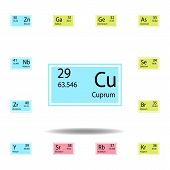Periodic Table Element Cuprum Color Icon. Set Of Chemical Sign Color Icon. Signs And Symbols Collect poster