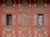 Detail Of Gothic Half-timbered Burgraves House On Karlstejn Castle Or Karluv Tyn In Bohemia Czech Re poster