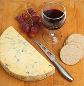 Stilton cheese with port wine, rough oatcakes and grapes.