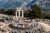 circular temple (tholos) of Athena Pronaia Sanctuary in  Delphi oracle, Greece
