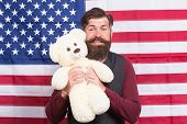 The Enthusiastic Spirit. Patriotic Man Holding Teddy Bear On Independence Day. Bearded Hipster Being poster