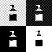Hand Sanitizer Bottle Icon Isolated On Black, White And Transparent Background. Disinfection Concept poster