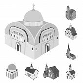 Isolated Object Of Landmark And Clergy Icon. Collection Of Landmark And Religion Vector Icon For Sto poster
