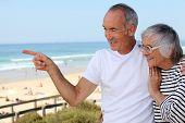 stock photo of senior prom  - Older couple on the prom - JPG