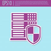 Retro Purple Server With Shield Icon Isolated On Turquoise Background. Protection Against Attacks. N poster