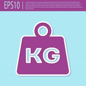 Retro Purple Weight Icon Isolated On Turquoise Background. Kilogram Weight Block For Weight Lifting  poster