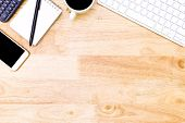 Flat Lay Office Desk Table Of Modern Workplace With Laptop On Wooden Table, Top View Laptop Backgrou poster