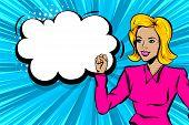 Cartoon Pop Art Style Woman Right. Retro Pin Up Blonde Girl Superhero. Wife Rights. Comic Book Halft poster