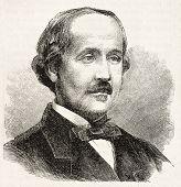 Albert de Broglie old engraved portrait (French nobleman). Created by Chenu after photo of Disderi, published on L'Illustration, Journal Universel, Paris, 1863