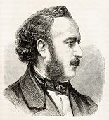 Jules Simon old engraved portrait (French statesman and philosopher). Created by Chenu after photo of Petit, published on L'Illustration, Journal Universel, Paris, 1863