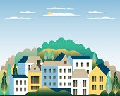 Rural Valley Farm Countryside. Village Landscape With Ranch In Flat Style Design. Landscape With Hou poster