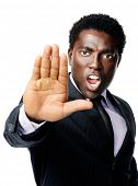 Businessman stopping with a hand gesture