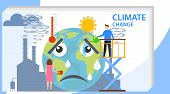 Climate Change, People Influence Climate Change. Climate Change. Vector Illustration poster