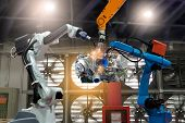 Control Automation Robot Arms The Production Of Factory Parts Engine Manufacturing Industry Robots A poster
