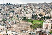 stock photo of amman  - view on ancient Roman theater in Amman Jordan - JPG