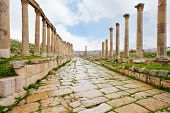 picture of cardo  - long colonnaded street or cardo in antique town Jerash in Jordan - JPG