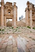 Steps And Gate To Artemis Temple In Ancient Town Jerash