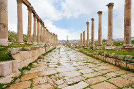 picture of cardo  - long colonnaded street or cardo in antique town Jerash in Jordan - JPG