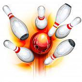 A red bowling ball crashing into the pins