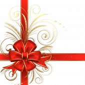 stock photo of christmas cards  - Red christmas bow on a white background - JPG