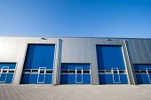 stock photo of roller door  - An industrial Unit with roller shutter doors - JPG