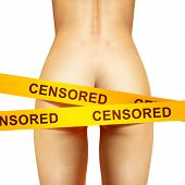 image of arousal  - beautiful back of woman under censorship tapes - JPG