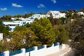 Old Tunisian town Sidi Bou Said is today a luxury quarter of the capital Tunis. Sidi Bou Said is known for blue and white colors. Many famous films were taken here.
