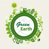 Green planet Earth concept. Sustainable green living around the globe. There are wind turbines, sola