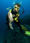 Diver With Nurse Shark