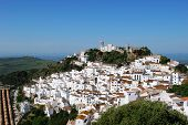 stock photo of pueblo  - View of the town and surrounding countryside pueblo blanco Casares Costa del Sol Malaga Province Andalucia Spain Western Europe - JPG