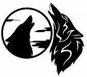 pic of wolf moon  - howling wolf tribal  - JPG