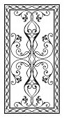 foto of sandblasting  - simetrichnyh pattern with floral ornament edged with openwork frame for use on tabletop - JPG