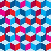 Optical illusion background in red white and blue with seamless pattern