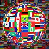 stock photo of bandeiras  - flags of the world in globe format  - JPG