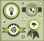 Set of eco labels and elements for green technology