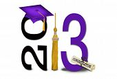 gold tassel with purple graduation cap