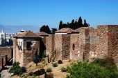 Castle walls, Malaga, Andalusia, Spain.
