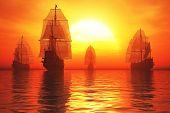 picture of battleship  - Old Battleship Fleet in the Sea in the Sunset Sunrise 3D render - JPG