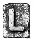 Metal alloy alphabet letter L