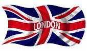 Union Jack Witrh London Text Billowing In Wind