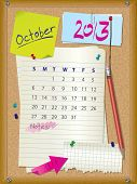 2013 Calendar - Month October - Cork Board With Notes