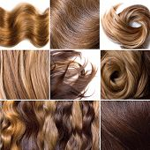 image of hair streaks  - Collage from photos of natural human hair - JPG
