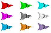 Nine Set Of Tri Flags