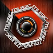 Red Woofer Music Hexagon Background