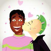 Misto casal - garota punk beija o homem.