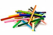 foto of sharpie  - A pile of many different coloured markers - JPG