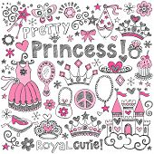 Hand-Drawn Sketchy Fairy Tale Princess Tiara Crown Notebook Doodle Design Elements Set Vector Illustration