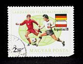 HUNGARY - CIRCA 1978:A post stamp printed in Hungary shows football players, Argentina �¢�?�?78