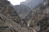 stock photo of tora  - Traffic jam in the mountains between Afghanistan and Pakistan - JPG
