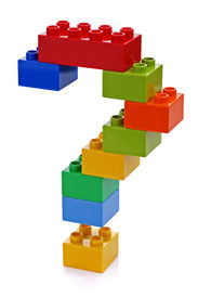 stock photo of punctuation marks  - Question mark made from plastic building blocks - JPG